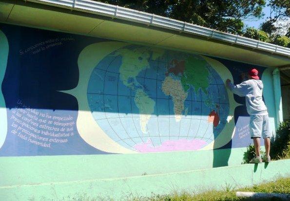 """art with meaning"" ""custom art"" ""custom painting"" ""world map mural"" ""Costa Rica"" ""La Cruz de Abangares"" ""Guanacaste"" ""costa rica art"" ""world map painting"" ""community mural"""