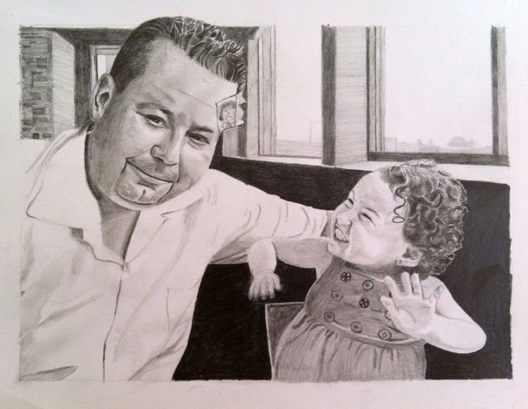 """""""baby portrait"""", """"father daughter portrait"""", """"family art"""", """"art with meaning"""", """"baby art"""", """"dave white art"""", """"portrait drawing"""", """"family portrait"""""""