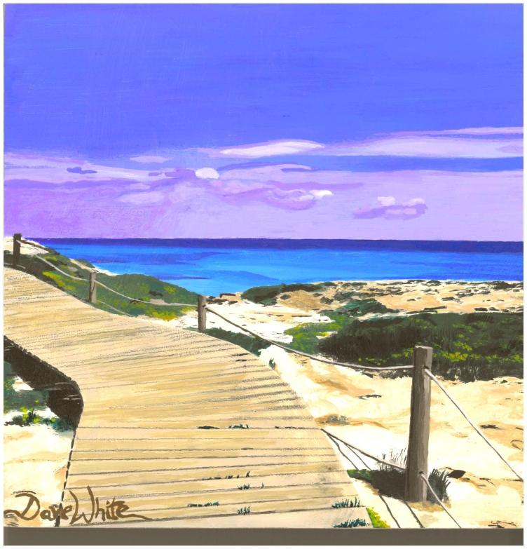 """formentera"", ""formentera painting"", ""formentera art"", ""dave white painting"", ""beach painting"", ""boardwalk painting"", ""ocean painting"", ""spain painting"", ""mediterranean painting"""