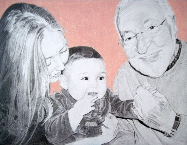 """family portrait"", ""family drawing"", ""grandparents and granddaughter portrait"", ""dave white art"""