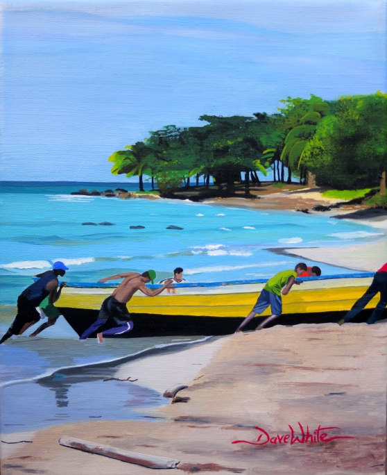"""""""caribbean painting"""", """"nicaragua painting"""", """"caribbean art"""", """"nicaragua art"""", """"boat painting"""", """"beach painting"""", """"central america caribbean"""", """"dave white painting"""", """"dave white art"""""""