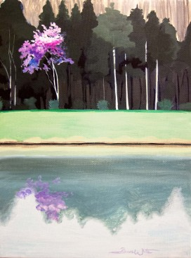 redbud tree, landscape painting, dave white artist, tree reflecting on lake