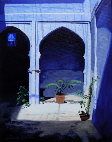 chefchaouen, morocco, chaouen, dave white, oil painting, arabic architecture, chefchaouen blue, morocco painting, morocco art, dave white painting, dave white art