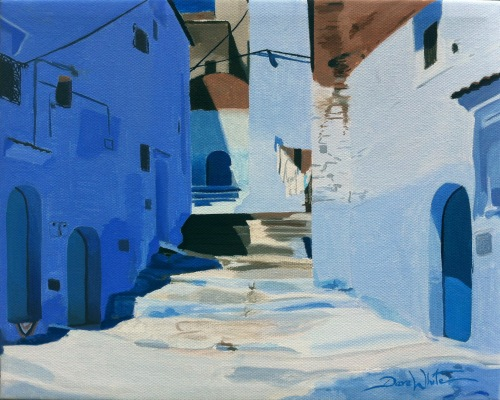 Chefchaouen, Morocco, Chaouen, Chefchaouen Painting, Painting for Sale, Blue and White Art, Artist Dave White, Oil Painting