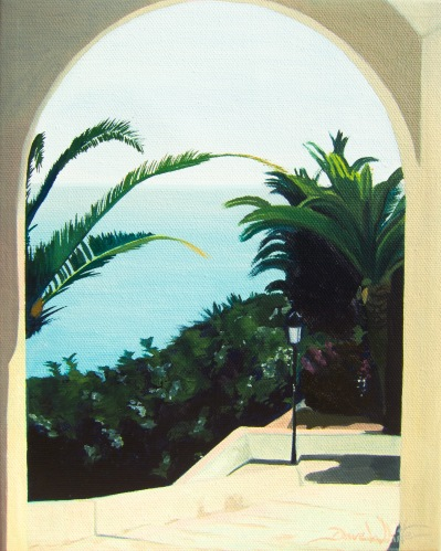spanish painting, spanish art, nerja, spain, mediterranean, costa del sol, andalusia, andalucía, sun coast, españa, oil painting, artist dave white, seascape, architecture painting, sea painting, ocean painting