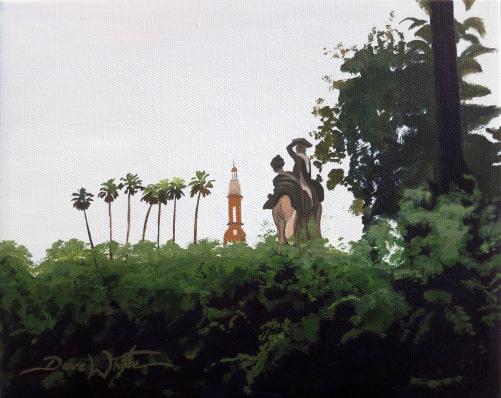 spain painting, spanish painting, spanish art, sevilla painting, Maria Luisa Park, Parque Maria Luisa, Seville, Sevilla, Plaza de España, Art, Dave White Artist, Andalusia, Andalucía,