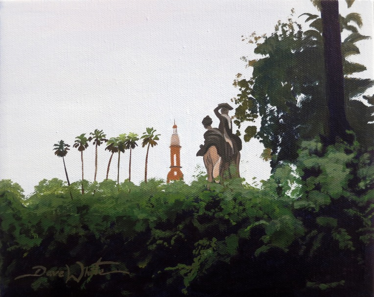 Painting for Sale, Maria Luisa Park, Parque Maria Luisa, Seville, Sevilla, Plaza de España, Art, Oil Painting, Dave White Artist, Andalusia, Andalucía, Architecture Painting