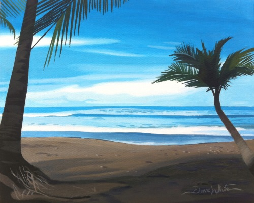 seascape, costa rica, uvita, bahia ballena, beach, playa, palm trees, painting for sale, art for sale, artist dave white, Pacific