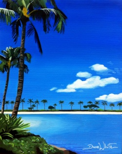 waikiki, hawaii, beach, painting, oil painting, painting for sale, ebay art, artist dave white, tropical beach painting, beach painting, hawaii painting, waikiki painting
