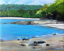 costa rica painting, beach painting, playa panama, art, artist dave white, painting for sale, art on ebay