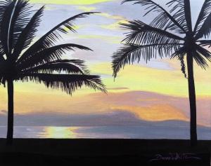 beach sunset, sunset painting, beach painting, palm trees, art, art on ebay, artist dave white, buy oil painting, puntarenas, costa rica