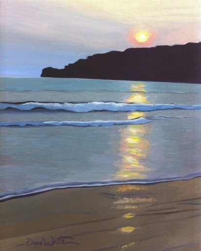 san juan del sur, sunset painting, nicaragua, artist dave white, art, painting for sale