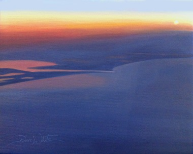 dave white paintings, dave white art, gulf of mexico painting, sunset, sunset painting, gulf of mexico, artist dave white