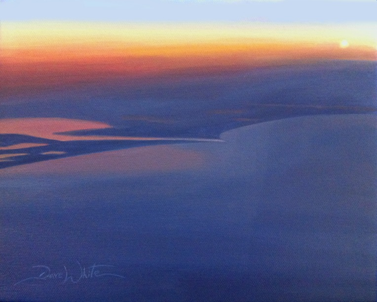 sunset, sunset painting, gulf of mexico, texas, artist dave white, painting for sale, art on eBay