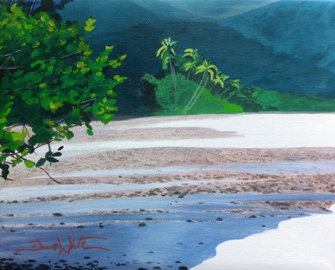 costa rica painting, costa rica art, dave white art, dave white paintings, beach painting, artist dave white, costa rica, seascape, art