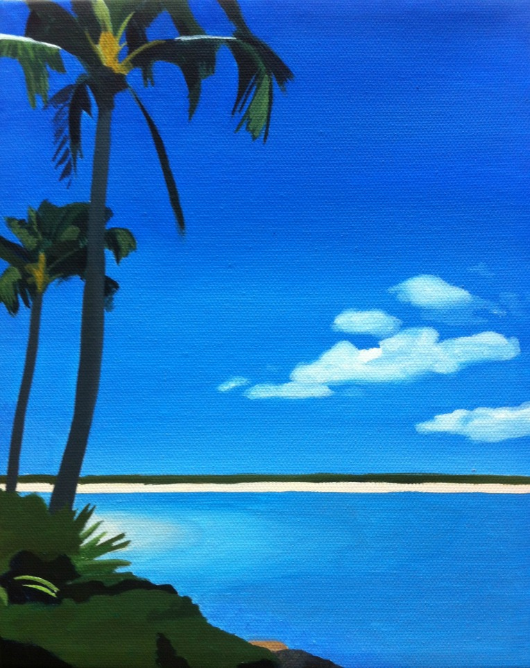 Waikiki painting, hawaii painting, beach painting, artist dave white, painting for sale, art on ebay
