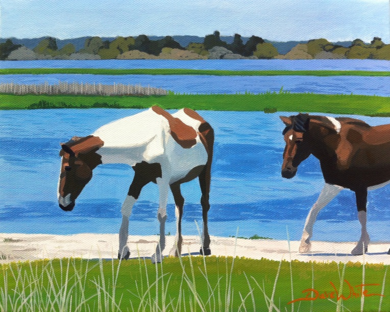 assateague, chincoteague, wild horses, wild horses painting, horses on beach, artist dave white, art on ebay, painting for sale, artist dave white