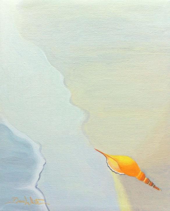 seashell painting, artist dave white, buy painting, buy art, buy from artist, art on ebay, beach painting, orange seashell