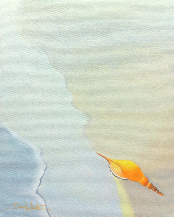 seashell painting, artist dave white, buy painting, buy art, buy from artist, art on ebay, beach painting, orange seashell