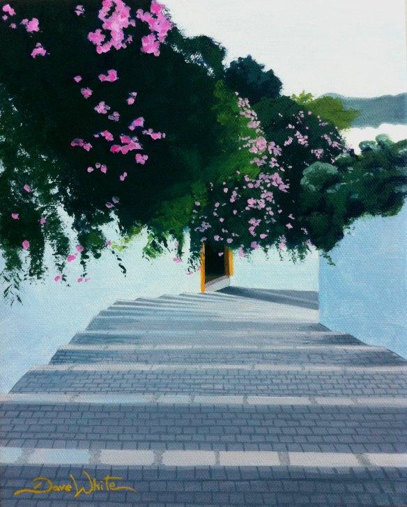 """ibiza painting"", ""mediterranean painting"", ""mediterranean architecture"", ""whitewashed village"", ""ibiza painting"", ""artist dave white"""