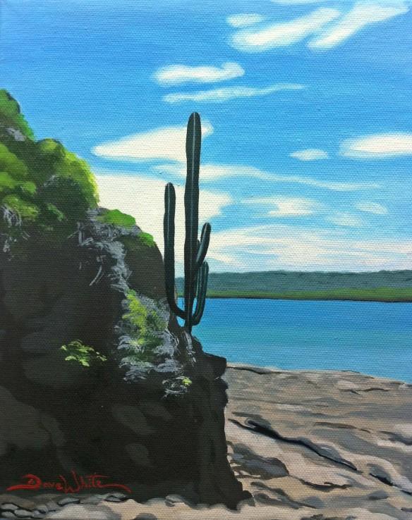 cactus painting, beach painting, costa rica painting, art, artist dave white, playa panama, art on ebay, buy from artist, buy art, buy paintings