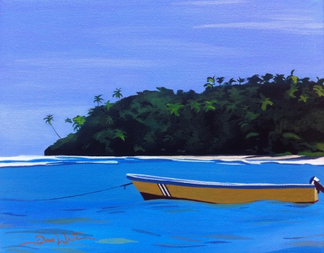 costa rica, painting, art, puerto viejo, caribbean, colorful boat, caribbean boat, dave white artist