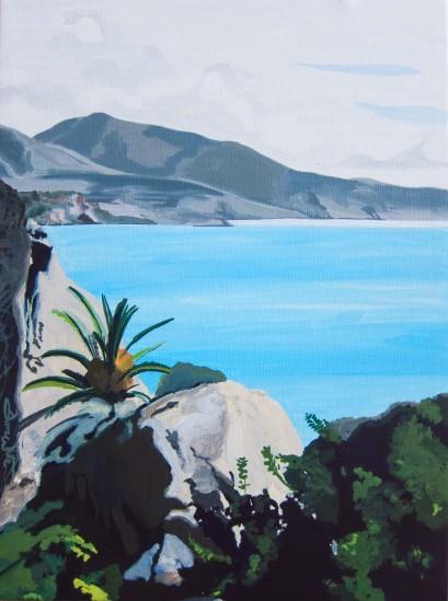 nerja painting, spain art, nerja art, spain painting, mediterranean painting, Mediterranean art, dave white artist, spanish painting, spanish seascape