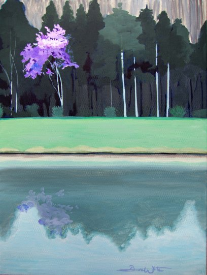 redbud tree, reflecting tree painting, redbud painting