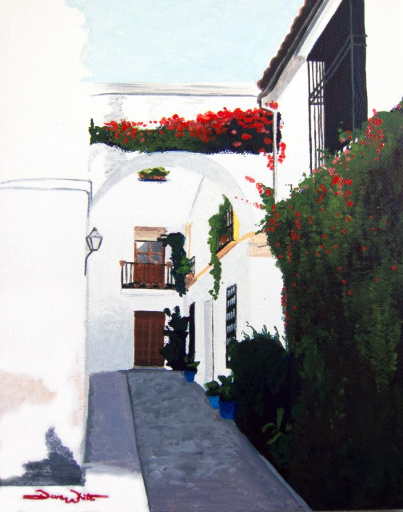 """mediterranean painting"", ""spain painting"", ""cordoba painting"", ""dave white artist"", ""whitewashed street"", ""narrow Spanish street"", ""spain street"", ""spanish painting"""