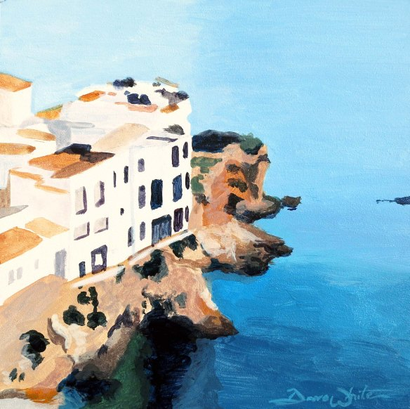 mediterranean painting, spain painting, seascape, ibiza painting, mediterranean art, original painting, acrylic painting, artist dave white, loudoun artist, leesburg artist, ashburn artist, seaside cliff