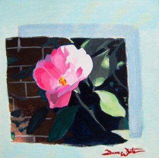 flower painting, floral, sun, pink, plant, brick, blue, sunshine, acrylic, gessobord, panel, dave white, blooming flower, pink flower