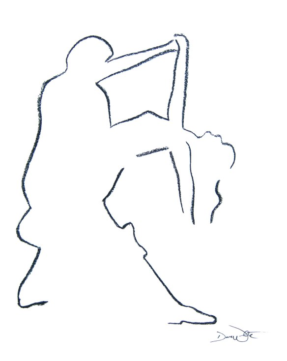 dance art, dance dip, dance drawing, dance illustration, figurative dance art, figurative art, line drawing, dave white art, dave white artist