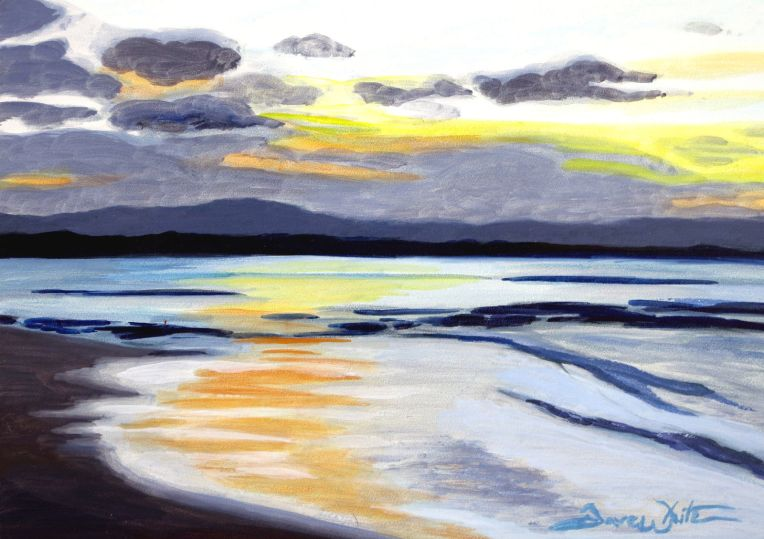dave white art, dave white painting, beach painting, sunset painting