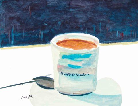el cafe de andalucia, spanish painting, spanish art, spain painting, spain art, cafe art, coffee art, coffee painting, artist dave white, dave white paintings, spanish coffee