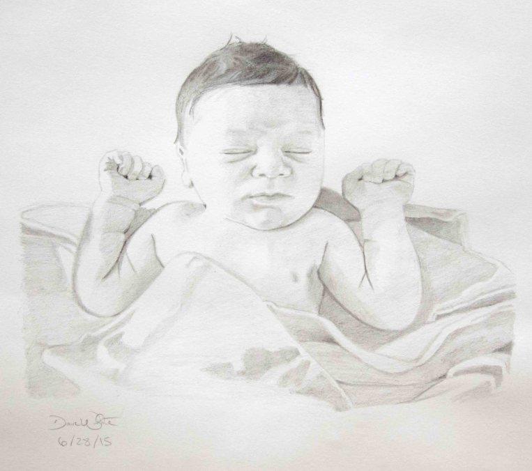 baby portrait, portrait artist, dave white artist, portrait drawing, loudoun artist, ashburn artist, portrait art, pencil portrait, baby artist