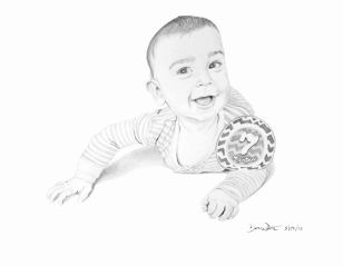 artist dave white, baby portrait, baby drawing, portrait drawing