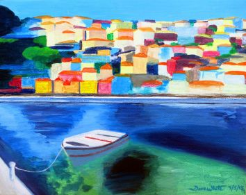 artist dave white, tethered to the dock, dave white art, dave white paintings