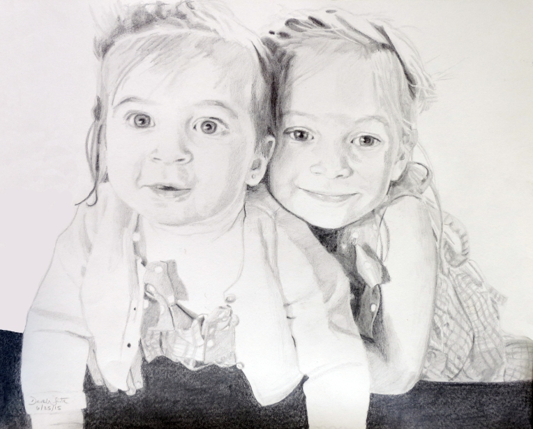 Ellie and Amelia Pencil Portrait Drawing