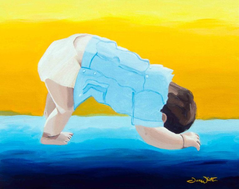 yoga art, yoga, art, downward dog art, down dog, downward dog, baby yoga, yoga artist, artist dave white