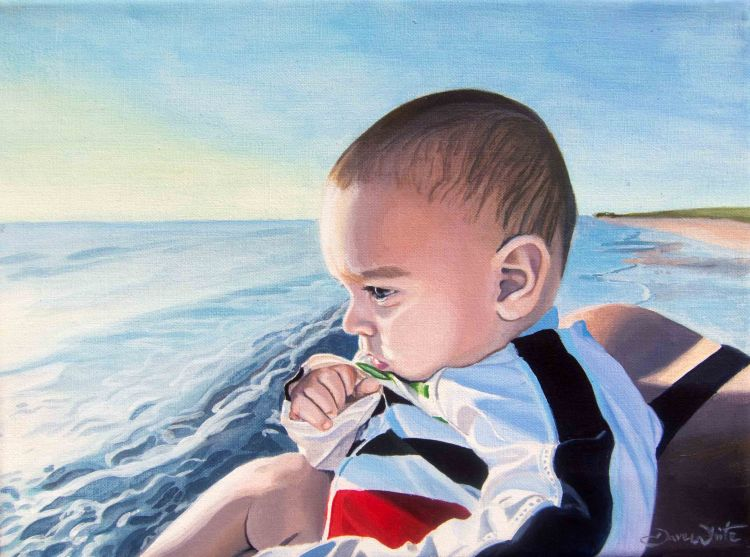 honeymoon island, portrait painting, oil portrait, portrait artist, artist dave white, pinellas county florida, pinellas, beach painting, baby portrait