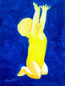devotion to children, baby art, artist dave white, child painting, baby painting, toddler painting