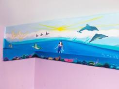loudoun mural, loudoun muralist, ocean life mural, sea mural, ocean mural, ashburn, muralist, mural artist, mural, dave white murals, dave white artist