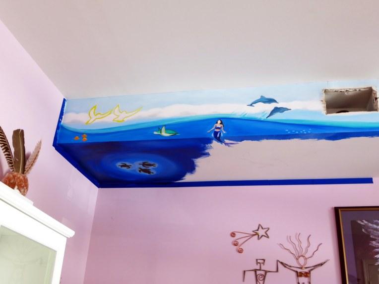 Ocean Life Mural Progress 3