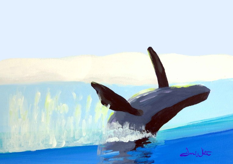 jumping whale, whale, art, painting, whale painting