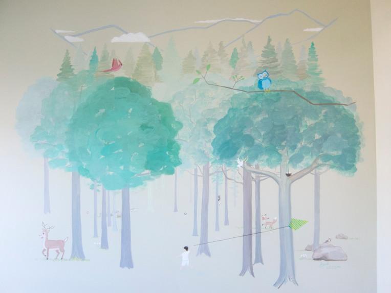 forest mural, mural, boys room mural, kids mural, ashburn mural, loudoun mural