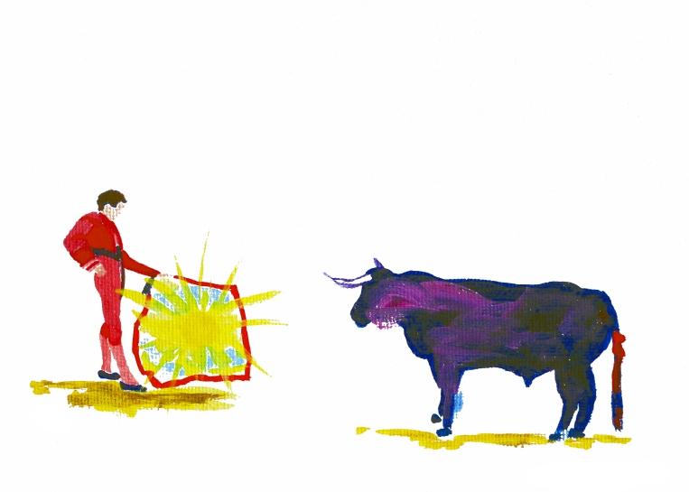 bullfight art, bullfight painting, spain art, spain painting, spanish art, spanish painting, bull art, bull painting