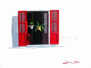 red shutters, spain, spanish, art, painting, Mediterranean, architecture