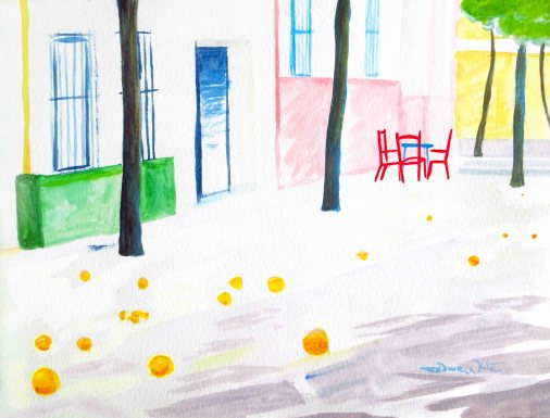 seville, sevilla, oranges, watercolor, painting, art, spain, spanish, andalusia, andalucia