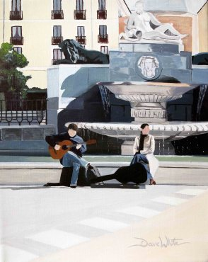 oil painting, madrid, spain, spanish, art, music, architecture, plaza, europe