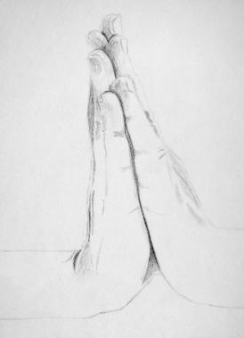 Praying Hands - Progress Drawing